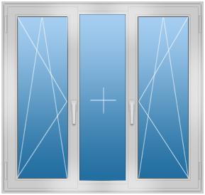 Трёхстворчатое алюминиевое окно с двумя створками