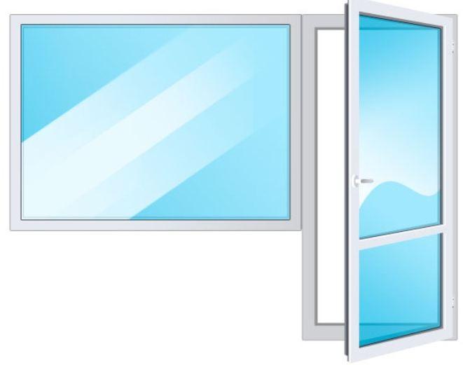 Балконная дверь поворотная и глухое окно
