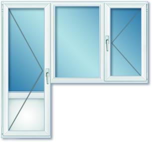 Балконный блок (балконная дверь и окно с откидной створкой)
