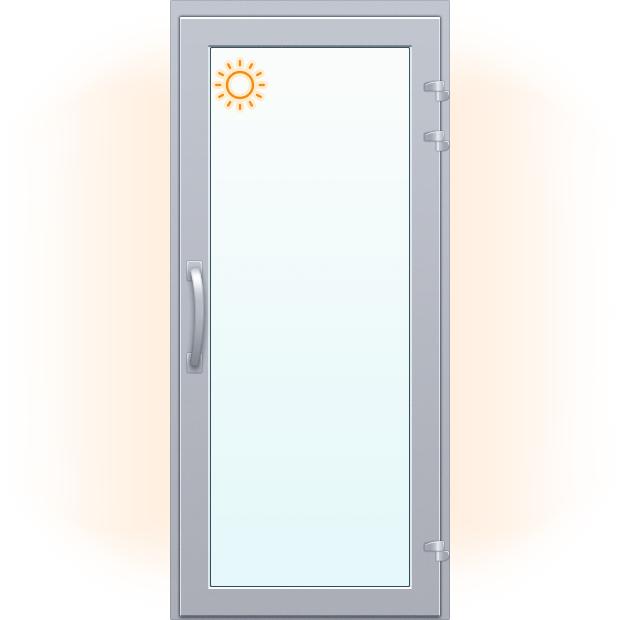 Алюминиевая дверь тёплая одностворчатая