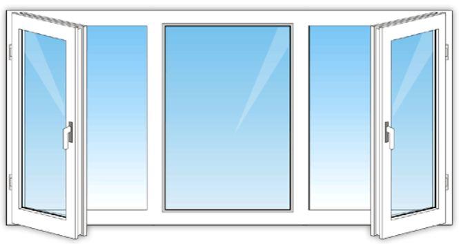 Трёхстворчатое окно с двумя створками
