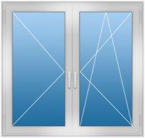 Двухстворчатое окно с поворотно-откидными створками