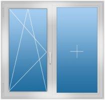 Двухстворчатое окно с поворотной, поворотно-откидной створкой
